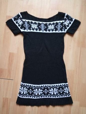 Sukienka Tunika biało czarna