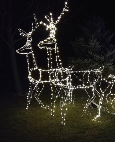 Ozdoby świąteczne renifery jelonek światełka led