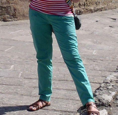 Letnie damskie zielone spodnie r.XL