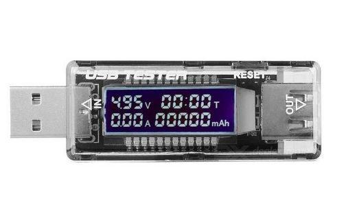 USB тестер KWS-V21 измеряет емкость,ток, время заряда 3-20V, 3.3A max