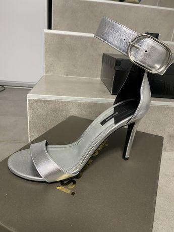 Buty szpilki gino rossi ślubne srebrne