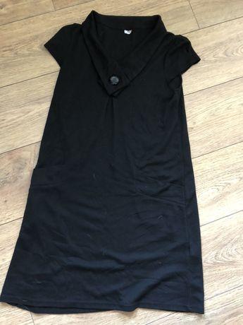 Czarna dzianinowa sukienka przed kolano M