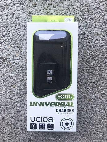 Carregador universal de baterias (máquinas fotográficas/etc) com LED