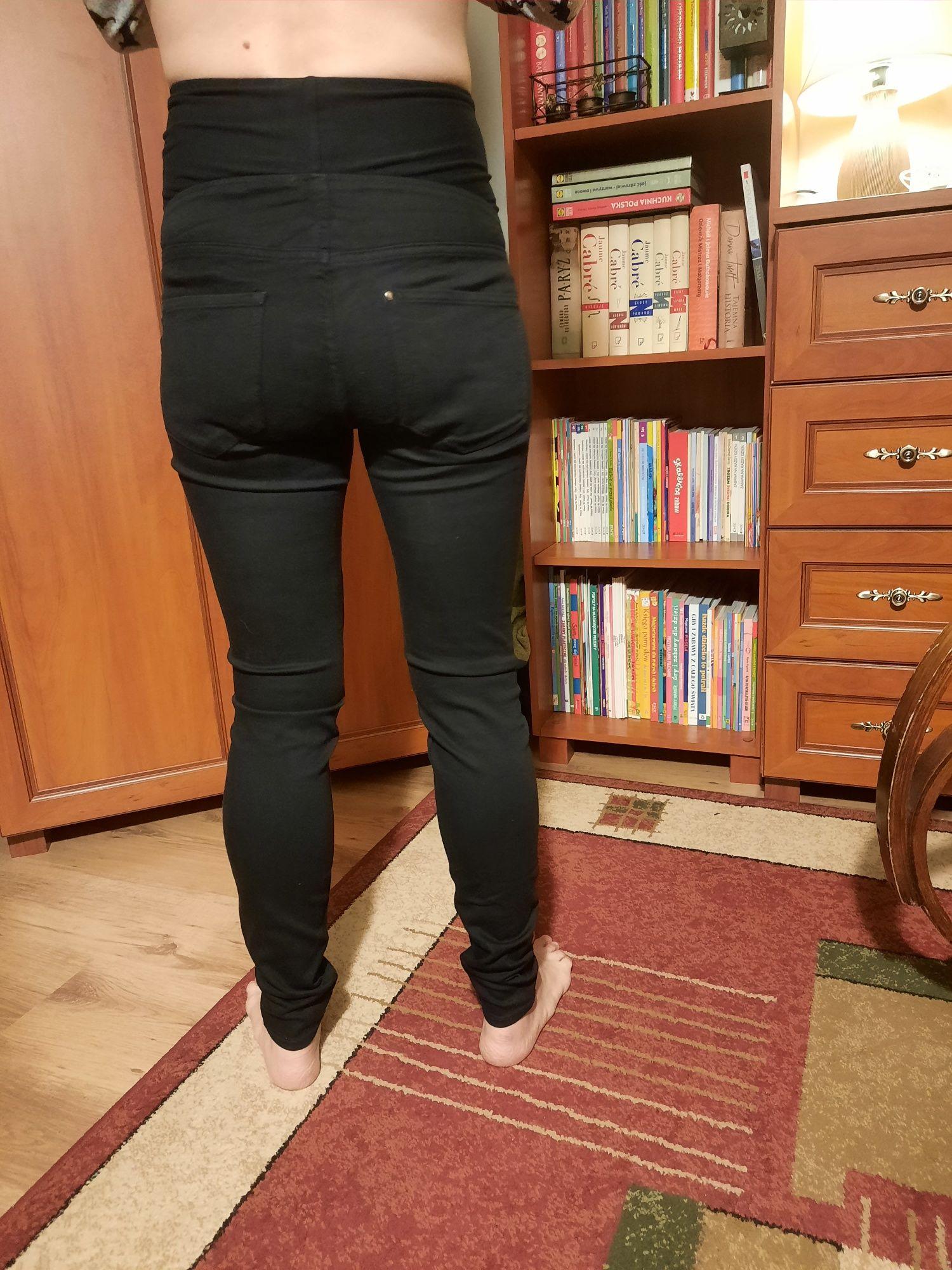 Jeansowe rurki ciążowe MAMA H&M czarne rozmiar M/L