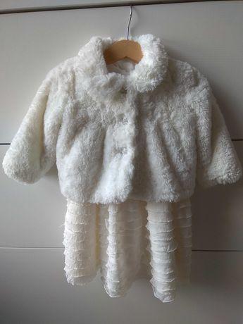Sukienka biała i płaszczyk biały chrzciny, okazja roz. 74