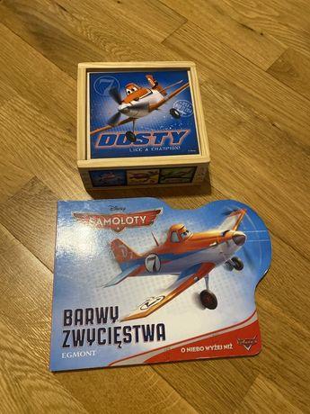 Drewniana ukladanka klocki i książeczka Samoloty