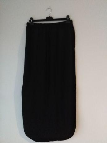 Spódnica medium Jacqueline czarna rozporki, na gumce