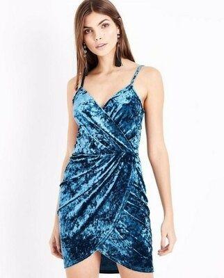 Изумрудное велюровое платье new look