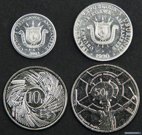 Набор монет 1, 5, 10 и 50 франков 1980-2011 годов Бурунди