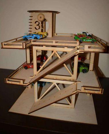Drewniany parking prezent dla chłopca