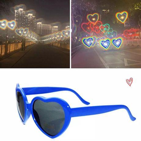 Солнцезащитные очки, в форме сердца, исскажающие блики в виде сердец