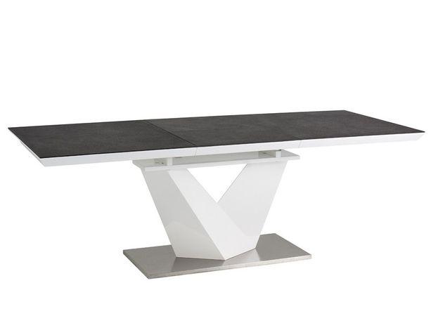 Stół Alaras II 140(200)X85 , 160(220x90 czarny blat szklany ,