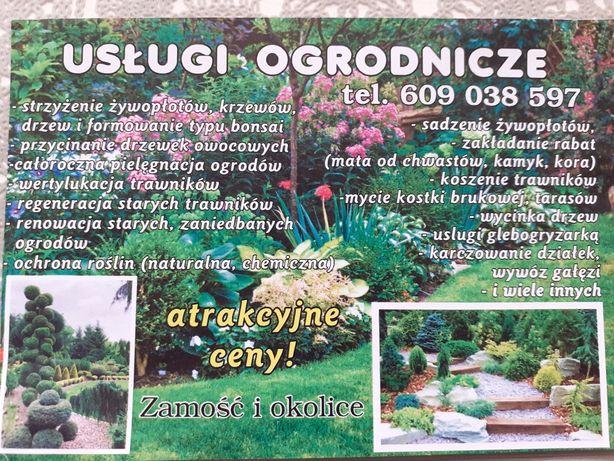Usługi ogrodnicze , ,wycinka drzew, (rębakowanie gałęzi),mycie kostki.
