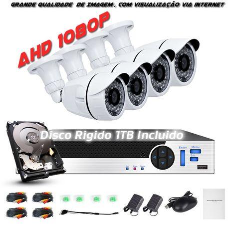 sistema 4 cameras 1080p disco 1tb AHD 4 cabos 20m ver no telemovel