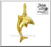 Złota zawieszka delfin złoty dwustronny wisiorek delfinek Au 585 Tychy