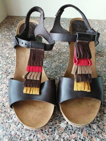 Sandálias em pele senhora n°39