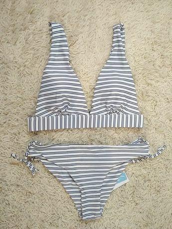 Bikini szerokie paski biało czarne zapięcie wiązanie 38/M 40/L push up