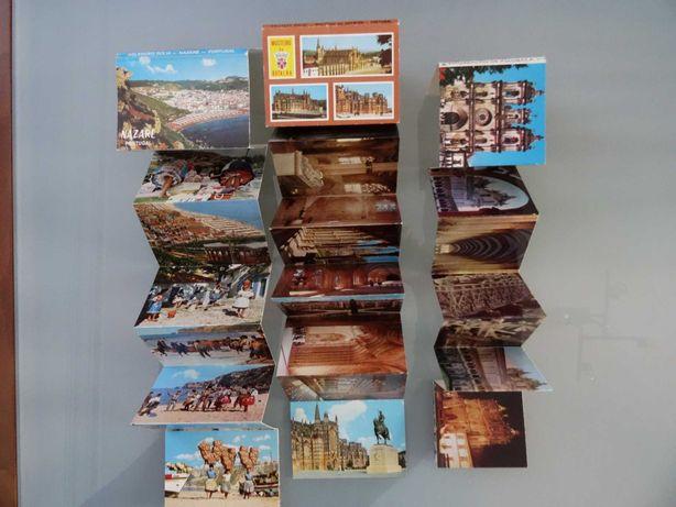 Conjunto de 3 coleções desdobráveis de postais antigos
