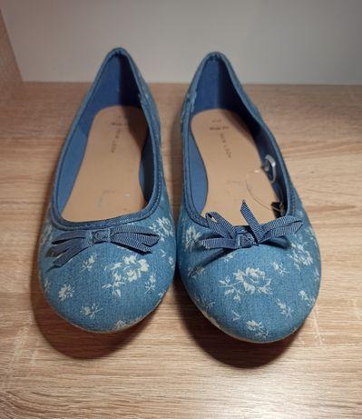 Baleriny niebieskie w kwiaty małe 42
