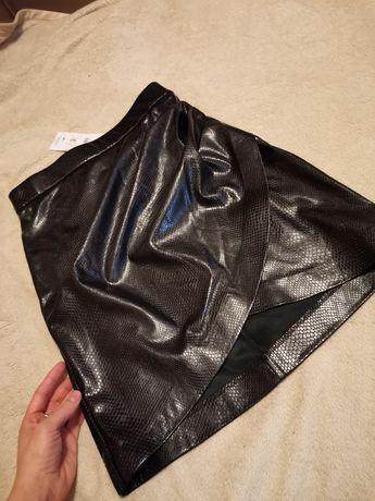 Кожаная юбка, юбка из экокожи, асимметричная юбка