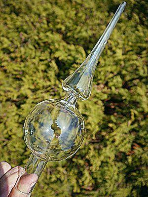 GRUBY DUŻY Szpic choinkowy czubek choinkowy na choinkę ze szkła 30cm