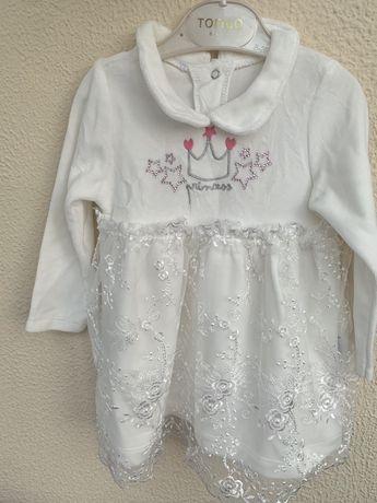 Дитяче біле плаття з мереживом 74см/біле плаття/плаття на свято