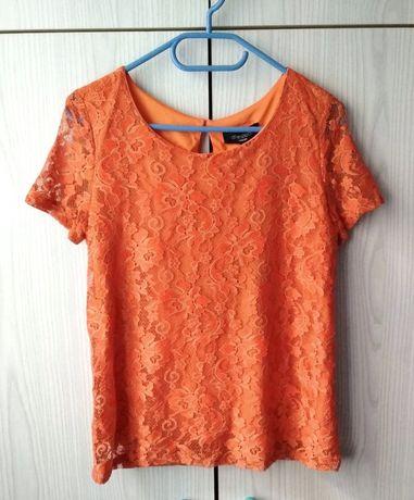 Pomarańczowa ruda bluzka koronkowa top Aftershock