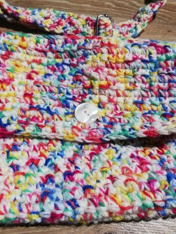 Kolorowa torebka z włóczki, handmade, rękodzieło szydełko