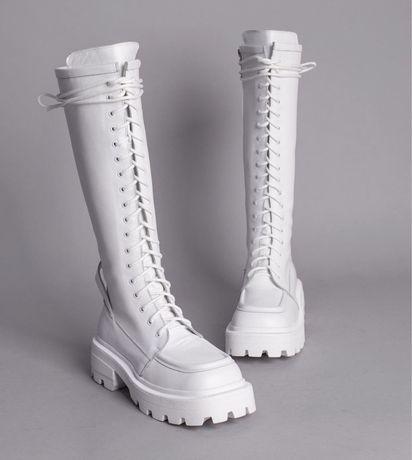 Сапоги (ботинки) шнурованные белые