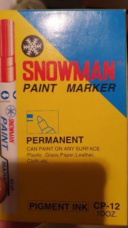 Marker olejowy Snowman czerwony gruby 11 szt CP