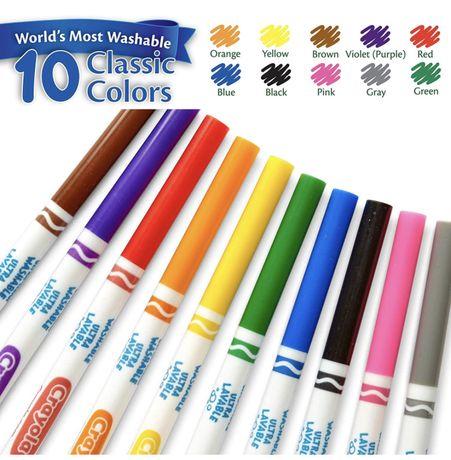 Смываемые фломастеры Crayola, разноцветные тонкие линии, 10 шт