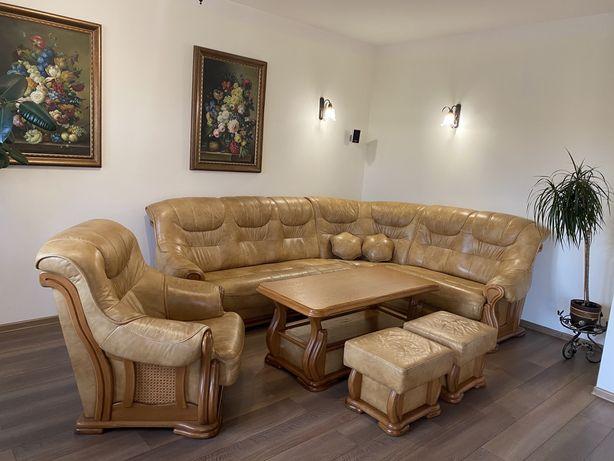 Rogówka narożnik skóra meble dębowe komplet rtv stolik do renowacji