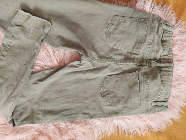 Spodnie dziewczęce zielone/khaki rozmiar 134/140