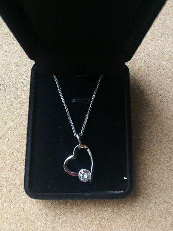 Biżuteria naszyjnik serce z cyrkonią nowa Walentynki