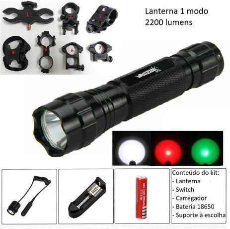 Kit CAÇA lanterna led 2200 Lumens 1 modo WF 501 B verde branca zoom