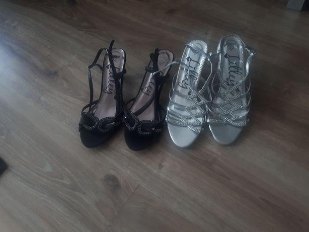Buty na obcasie szpilki sandały kryształki kryształy