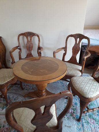 Antyk zestaw krzeseł i stolik kawowy