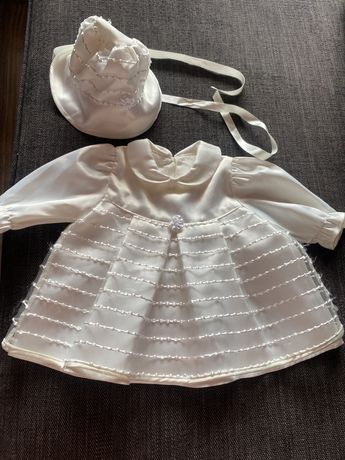 Платье плаття для крестин на выписку платье и шапочка комплект
