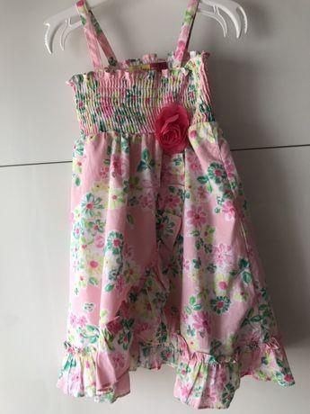Letnia Sukienka bawełniana wizytowa +majtki, jak r. 24M, 86/92