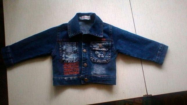 Джинсовая курточка для мальчика на годик.