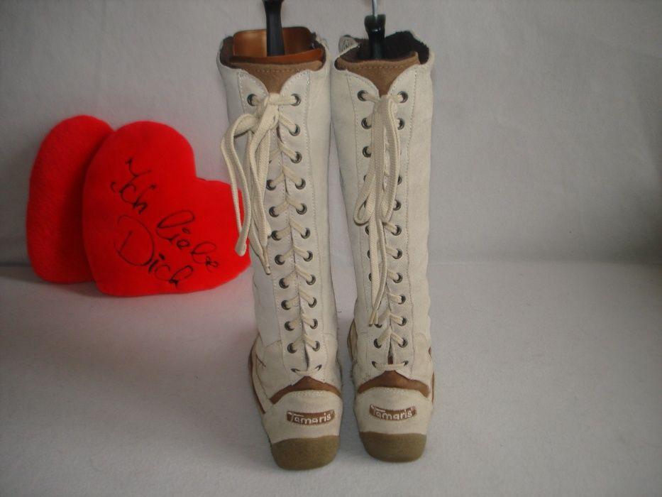 Кожаные утепленные сапоги в стиле бохо бренд tamaris Ивано-Франковск - изображение 1
