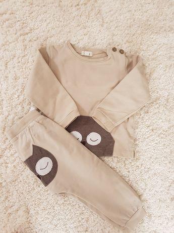 NEWBIE 86 komplet bluza spodnie dresik w sowy