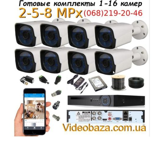 Камеры наблюдения/видеонаблюдение комплект на 8 камер Full HD 2 MPix