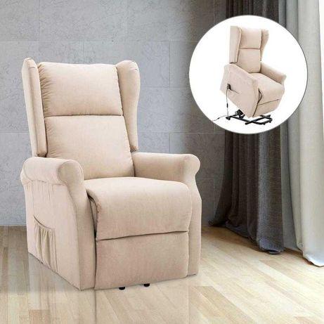 Fotel podnoszony z funkcją wstawania funkcją leżenia tkanina ZM