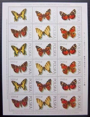 Znaczki polskie Arkusz Motyle czste