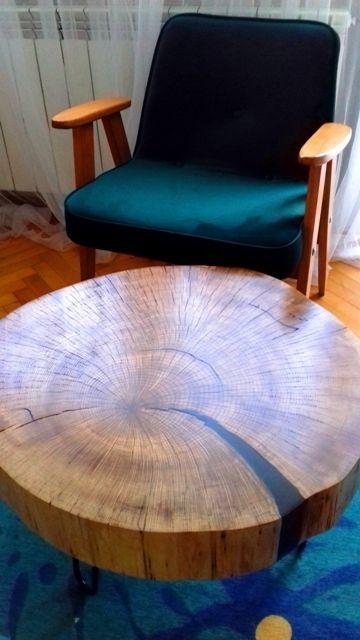 Duży stolik kawowy 100-letni dąb plaster żywica