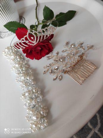 Ślubne Akcesoria do włosów diadem/ korona, grzebyk
