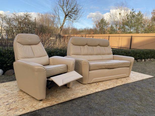 Шкіряний розкладний диван+ крісло РЕЛАКС стан СУПЕР кожа Европа