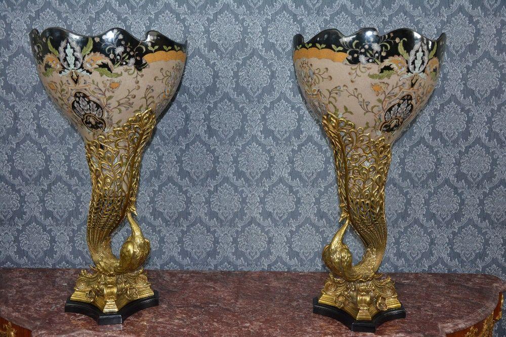 Tigela de porcelana decorada com bronze pavões Costa Da Caparica - imagem 1