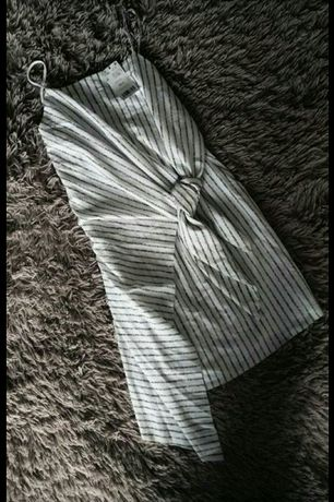 Летнее платье с узлом mango в полоску пляжное туника сукня Zara